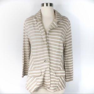 Caslon Beige & White Striped Blazer Size Large